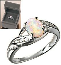 Sterling Silver Created Opal Ring in Gift Box 6-10 Avon