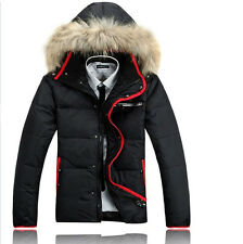 Mens duck down jacket Thicken warm Parka outdoor travel Coat Real fur hooded