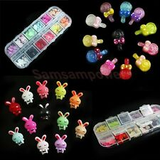 60x Lovely Resin Designs 3D Flat Back Beads Nail Art Tips Phone Decoration BOX