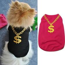 Summer Pet Vest Clothes Gold Necklace Shirts Dog Novelty Mesh Apparel Size XS-L