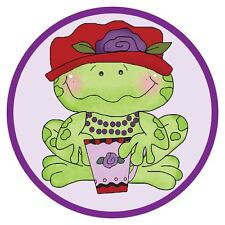 PURPLE POLO COLLAR SHIRT FOR RED HAT LADIES OF SOCIETY W/ CUTE FROG IN RED HAT