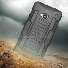 Black Armor Hard Rugged Hybrid Holster Impact Stand Case Cover For HTC One M7