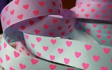 25mm Blue or Lilac with Bright Pink Hearts Grosgrain Ribbon. Hair Bow Craft Card