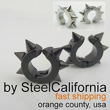 Spikey Clip On Earrings for Men in Black or Silver (Stainless Steel)