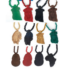 12 CHIOCES - Wooden Charm Pendant Rosary Prayer Beads Long Chain Wood Necklace