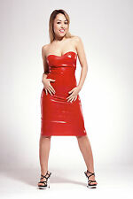 NEW Red Latex Rubber Female Strapless Dress (ENGLISH) S M L XL