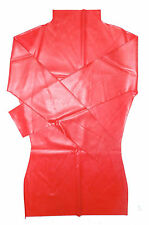 NEW Red Latex Rubber Female Mini Dress With Long Neck (ENGLISH) S M L XL