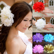 PERSONALITY LARGE BRIDAL WEDDING PARTY FLOWER ELASTIC PIN HAIR WRIST CORSAGE