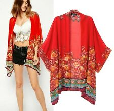Gypsy Bohemian women Ethnic Floral Print RED Kimono Top Blouse Long Cardigan