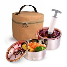 Vacuum Stainless Steel Lunch Jar Box Food Container and Pump Portable Tote Bag
