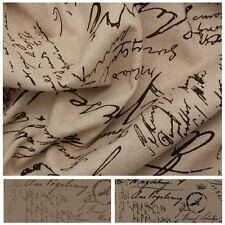 VINTAGE RUSTIC POSTCARD STAMP FRENCH HANDWRITTING SCRIPT LINEN UPHOLSTERY FABRIC