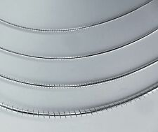 1,2,3 mm, Round Omega Sterling Silver Italian Necklace Chain, 14,16,18,20 inches