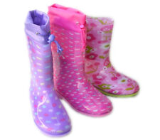 JB-LS Girls Kids Rain Boots Cute Colorful Flat Galoshes Wellies Rubber Size 9~4