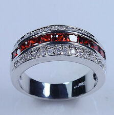 Size 7-13 Classic Jewelry Mens Red Garnet 10KT White Gold Filled Ring Band Gift