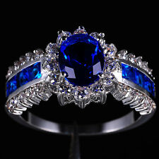 Size 6-11 Deluxe Jewelry Ladys Blue Tanzanite 10KT White Gold Filled Ring Gift