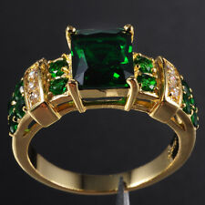 Deluxe Mens Jewelry 10KT Yellow Gold Filled 6ct Emerald Ring Gift-Love Size 8-12