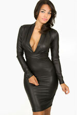 New Women Ladies Sexy Black Plunging V-neck Long-sleeve Leather Party Club Dress