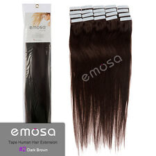 Emosa Tape Remy Long Straight 100% Human Hair Extensions #2 Dark Brown 50g 100g