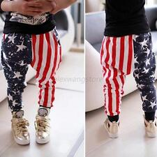 Toddler Baby Kids Boys Stars Striped Harem Pants Trousers Cotton Bottoms 1-5 Y
