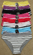 LOT Lace Trim Stripe Front Plain Back Cotton Spandex Women Bikini Panty S/M/L/XL