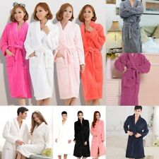 Unisex Women&Men Coral Fleece Loose Long Sleepwear Robes Bathrobe Spa #8 Colors
