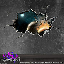 FULL COLOUR SPACE PLANET WORLD CRACKED 3D - WALL ART STICKER BOYS DECAL MURAL 16