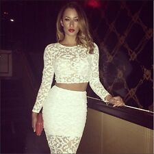 White lace bodycon dress celeb crop top skirt set sexy club party dress casual