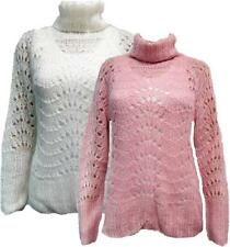 Ladies womens knitted lace pattern chunky polo neck jumper top - pink or cream