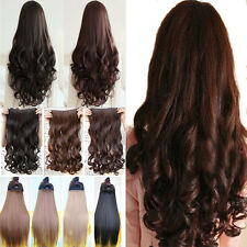 Real synthetic clip in on half full head hair extensions straight wavy style