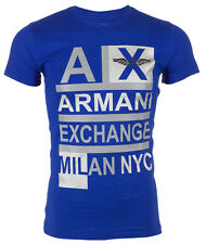 ARMANI EXCHANGE AX Mens T-Shirt STACKED Slim Fit BLUE Casual Designer M-XL $48