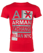ARMANI EXCHANGE AX Mens T-Shirt STACKED Slim Fit RED Casual Designer M-XL $48