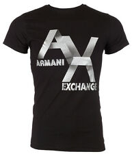 ARMANI EXCHANGE Mens T-Shirt AX LOGO Slim Fit BLACK Casual Designer M-XL $48