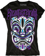 Women's Tiki Mask by Jime Litwalk Tribal Tattoo Art Black T-Shirt