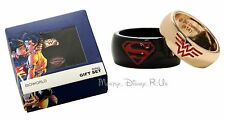 New DC Comics Superman & Wonder Woman His and Hers Gift Ring Set Size SM LG