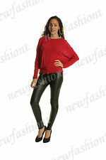 WOMENS LADIES BATWING LONG SLEEVES CROCHET DETAIL TOP TUNIC VISCOSE JUMPER 8 14