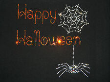 Misses Women's Fall Happy Halloween Spider Web Rhinestone T-Shirt Trick or Treat