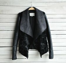 Bloggers HOT Women Big Collar Faux Leather Fur Combine Jacket Coat Black S M L