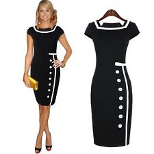 Navy Black Sailor Nautical Pinup Rockabilly Vintage Retro Pencil Women's Dress