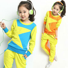 2014 New Kids Girls Korean Stitching Star Casual Sports Suit Outfits Set 5-12Y