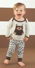 Mud Pie Forest Friends Collection Boys Bear Pajamas PJs 2 Pc Set 1012147 New