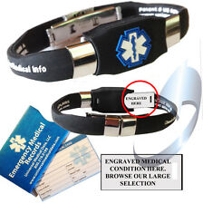 Medical Alert Bracelet with Specific Medical Conditions Pre-Engraved in BLACK