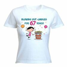 BLOWING OUT CANDLES FOR 67 YEARS 67th BIRTHDAY T-SHIRT - Gift Present -Size S-XL