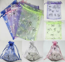 20-100Pcs Butterfly Organza Jewelry Packing Pouch Wedding Favor Gift Bag 3 Size