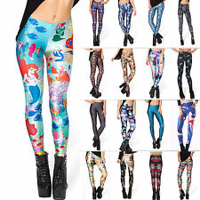 Women 3D Graphic Print Punk Casual Stretchy Skinny Pencil Tights Leggings Pants