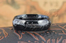 Size 6-12 Fancy COOL LOTR Band Ring Black Titanium Width 6mm Best Gift