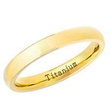 Titanium Wedding Ring High Polished Yellow Gold Plated 3mm Domed Band -3TM470