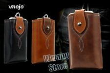 Retro PU Leather Belt Sleeve Pouch Card Slot Case Cover For Cell Phone W/Buckle