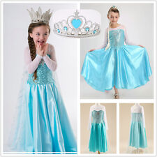Kids Girl Gift Party Gown Dress Frozen Costume Elsa Princess Cosplay Size S-2XL