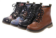 New Fashion Women 's England Flat Boot Floral Martin Boots Army Short Boot EQ399