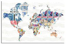World Map In Stamps From The World Design Poster New - Maxi Size 36 x 24 Inch